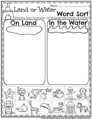 water animals worksheets kindergarten worksheets for preschoolers worksheets for all