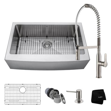 White Kitchen Sink With Stainless Steel Faucet by Kraus All In One Farmhouse Apron Front Stainless Steel 33