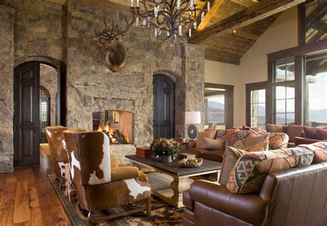 colorado ranch home rustic living room denver
