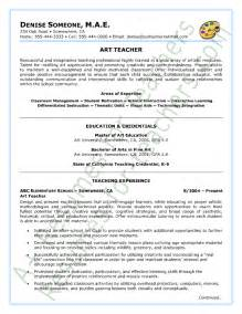 resume objective for college lecturer art teacher resume sle page 1