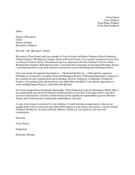 investment banking cover letter investment banking cover letter template 50356