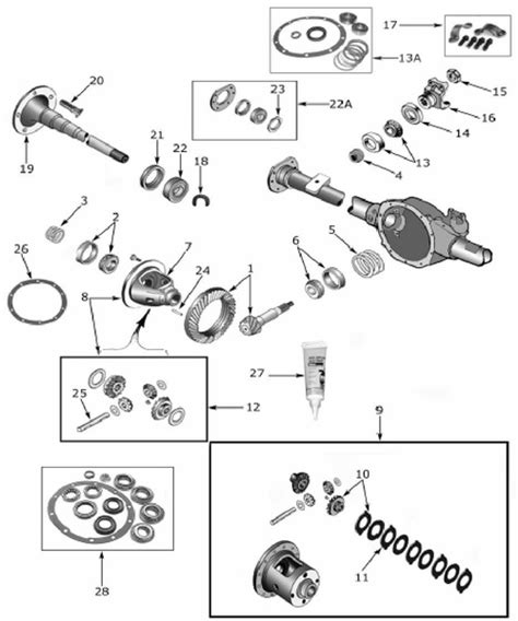Jeep Exploded Diagram by Xj 35 Rear Axle Parts 1984 01 Exploded