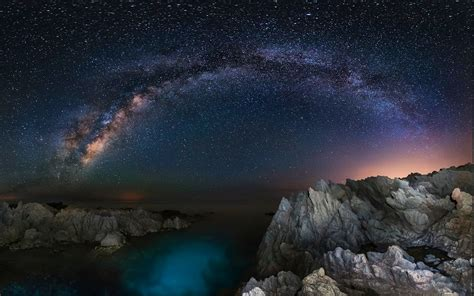 Wallpaper Landscape Lights Sea Water Rock Nature