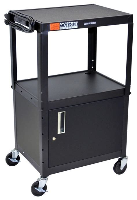AV Cart with Media Cabinet & Included 3 Outlet Power Strip