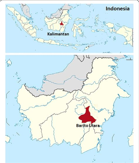 map  kalimantan indonesia showing areas red