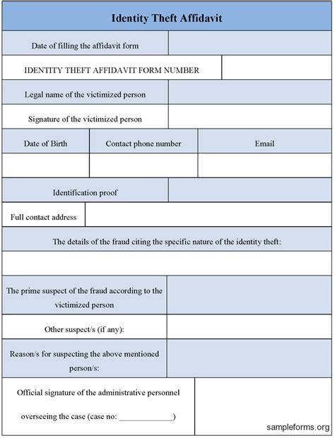 identity theft affidavit form sample forms