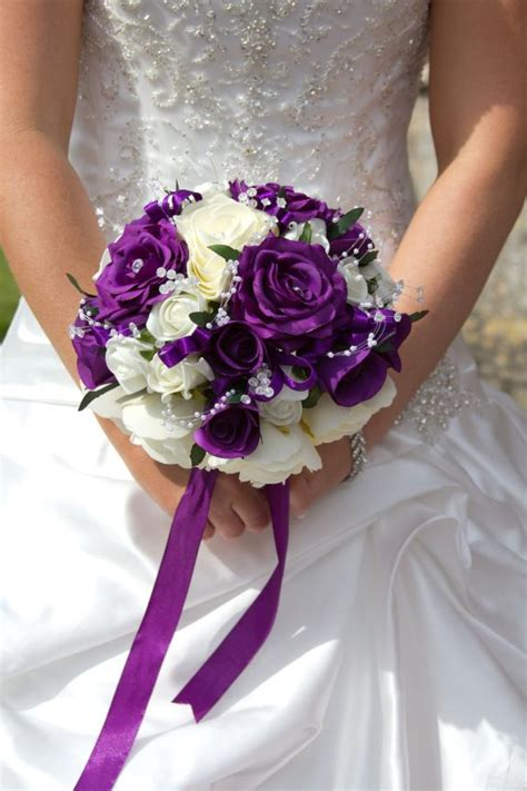 purple  white bridal bouquet bridesmaids  deep
