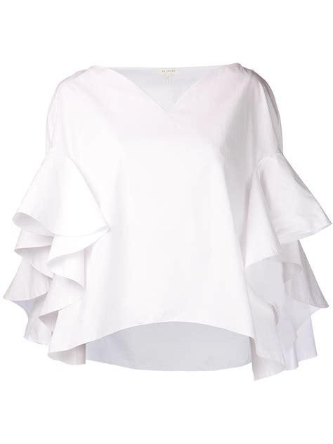 white blouse sleeve lyst delpozo ruffle sleeve blouse in white