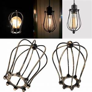 Vintage Iron Wire Bulb Cage Lamp Guard Shade Trouble