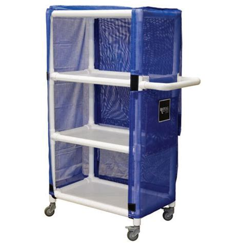 "Royal Basket 42"" PVC Linen Cart w/ 3 Shelves"