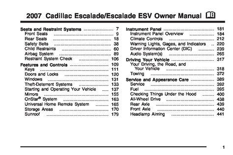 download car manuals 2011 cadillac escalade user handbook 2007 cadillac escalade owners manual just give me the damn manual