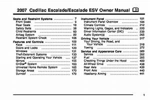 2007 Cadillac Escalade Owners Manual