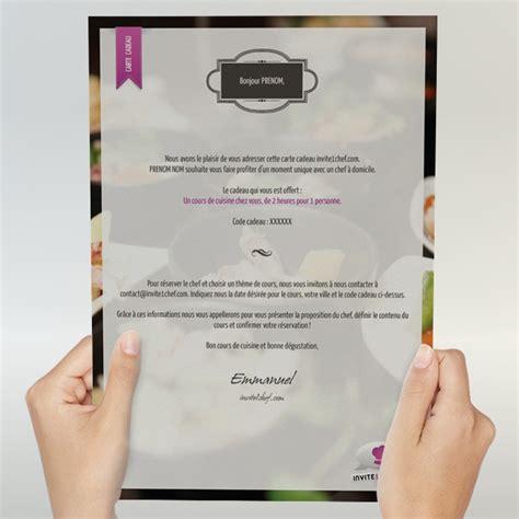 Cours De Cuisine Particulier - carte cadeau cours de cuisine à domicile pour 2 personnes