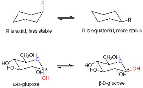 most stable chair conformation of glucose monosaccharides
