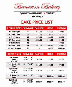 cake price list template19 price list samples in pdf www With cake price list template