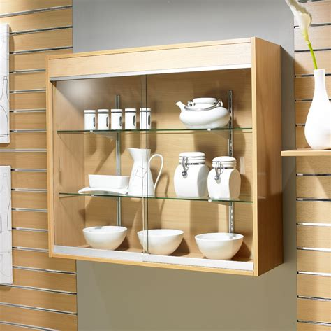 wall mounted glass display showcase cabinet  wide