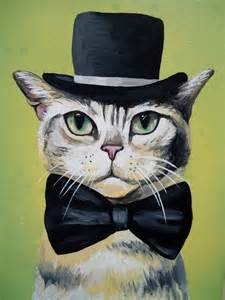 top hat cat cat in top hat and bow tie original painting by
