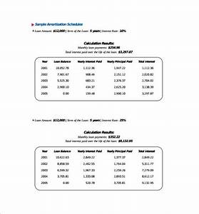 Amortization Table Car Loan Free 9 Sample Amortization Schedule Calculator Templates