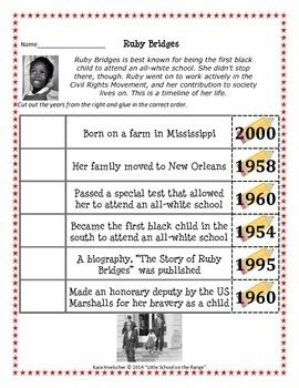 ruby bridges timeline freebie black history month tpt
