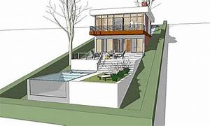 The architectmodern house plan for a land with a big for Plans for houses built on a slope