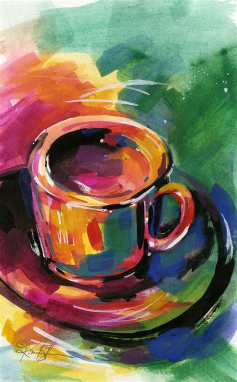 Painted mugs are an awesome way to spice up anyone's cabinet or coffee table! Coffee Dreams .... Original Coffee Cup painting by Kathy ...