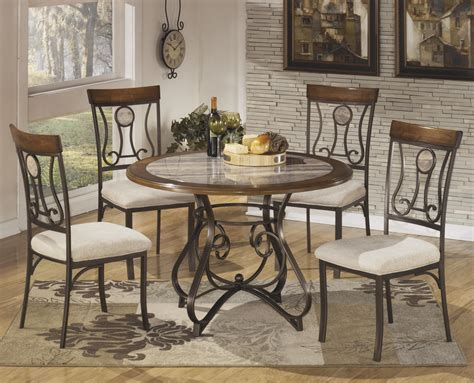 circle dining table set signature design by ashley hopstand 5 piece round dining