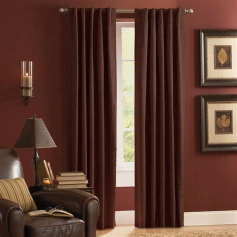 thermal drapes lowes shop style selections roberta 84 in mocha polyester rod