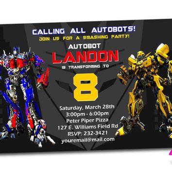 Transformers Party Invitations Template by Shop Transformers Invitations On Wanelo