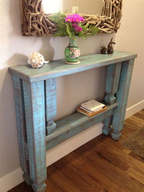 31390 foyer furniture ideas original rustic blue stained wooden entryway table with single