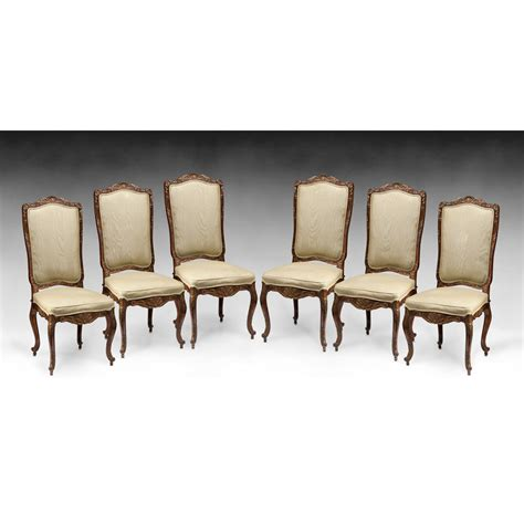 set of six louis xv style carved dining chairs from piatik