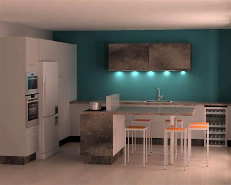 cuisine mur bleu mur bleu ptrole simple modele de cuisine ouverte sur