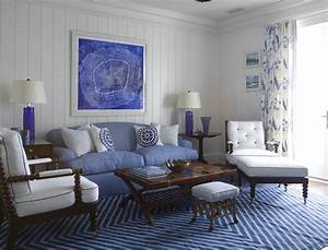 Striped, Blue, Living, Room