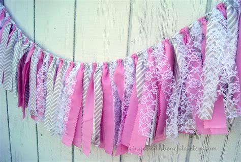 shabby chic fabric grey pink gray chevron shabby chic fabric garland rag tie garland