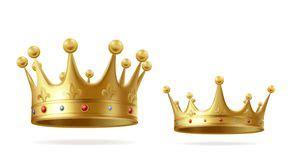 corona realistica dell oro copricapo d incoronazione per re e la insieme reale di vettore