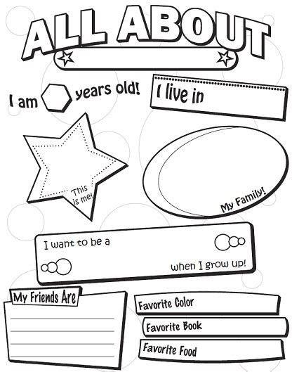 a back to school worksheets 343 | all about me small