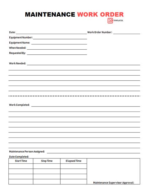 Work Order Template Work Order 11 Free Work Order Form Format Template For