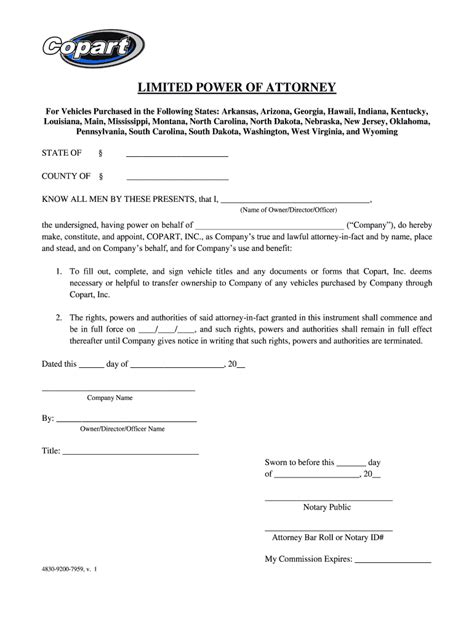 copart power  attorney fill  printable
