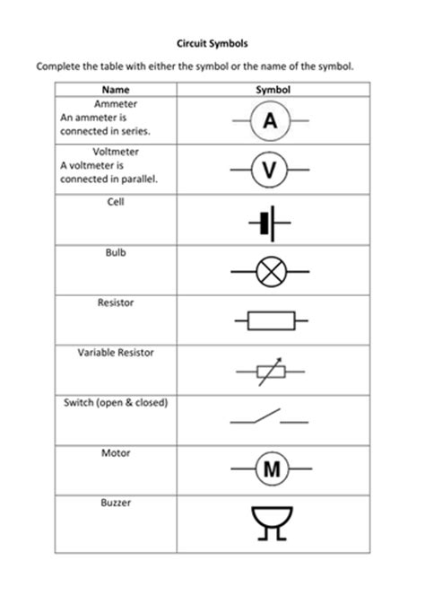 circuit symbols exercise by liamfricker teaching resources