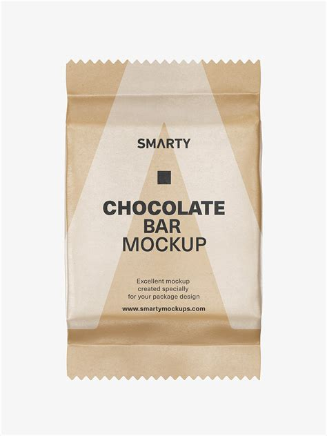 Psd files with smart layers (3500 x 2500 px). Chocolate bar mockup / kraft paper - Smarty Mockups