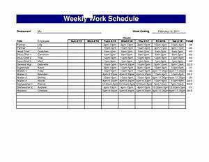 Best photos of 4 week work schedule template weekly for Restaurant work schedule template
