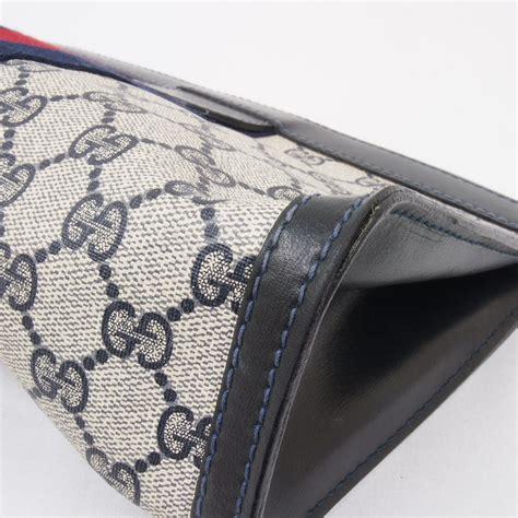 vintage gucci monogram blue red canvas ribbon wide velcro clutch bag purse ebay