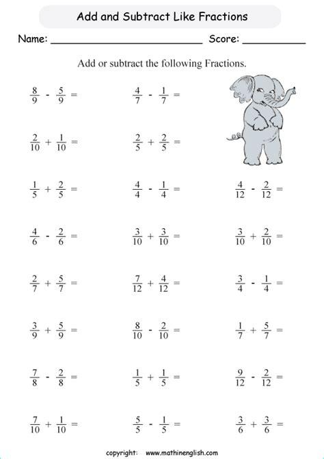 math worksheets adding  subtracting fractions worksheets