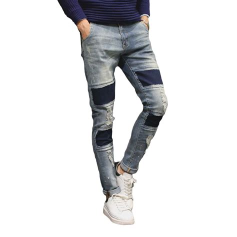 light blue jeans mens slim fit new 2016 ripped mens jeans pant knee hole korean light