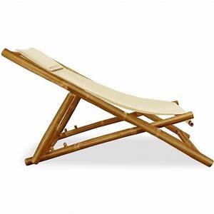 Repose Tete Plage : chaise longue transat en bambou jardin plage repose t te ~ Dode.kayakingforconservation.com Idées de Décoration