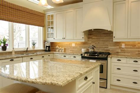 White Cabinets, Santa Cecelia Granite, Neutral Backsplash