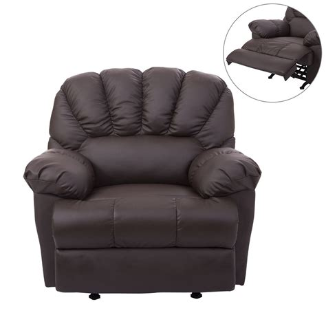 loveseat recliner rocker homcom pu leather rocking sofa chair recliner brown