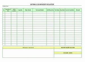 Lifting equipment register for Document register template free