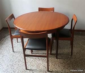 Table Ronde Avec Rallonge : table 60 39 s en teck esprit scandinave inspiration vintage ~ Teatrodelosmanantiales.com Idées de Décoration
