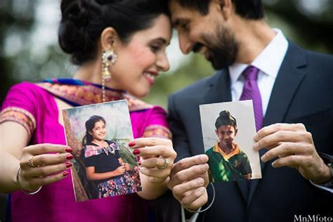 Indian wedding closeup bride and groom baby pictures in