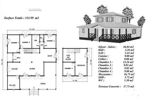 plan maison bois mod 233 le erable avec 233 tage d 233 cal 233 au centre